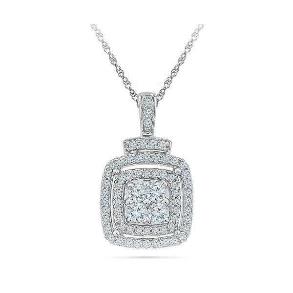Sumptous Square Diamond Pendant in 14k and 18k Gold online for women