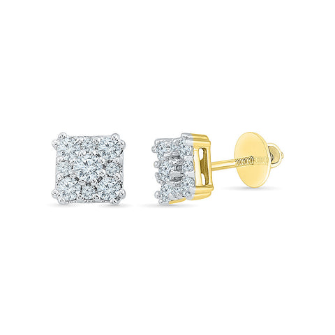 Dainty Diamond Square Stud Earrings in 14k and 18k gold for women online