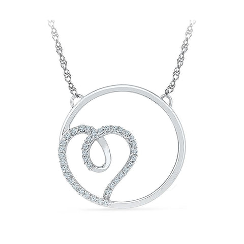 Silver Heart Necklace in Prong Setting with Diamonds