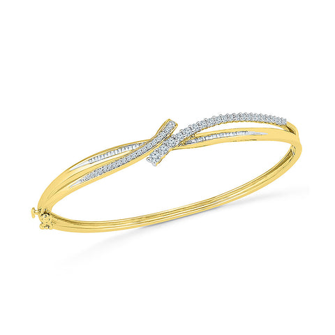 stylish gold diamond bangle for women  in white and yellow gold
