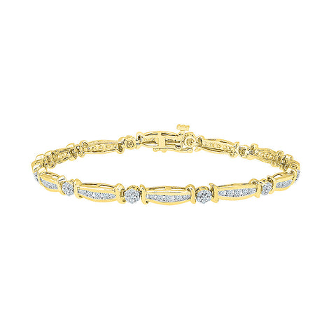 floral diamond bracelet  in white and yellow gold