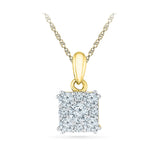 9/14/18 Carat White/Yellow/Rose Gold Square Pendant with Prong Set Round Diamonds