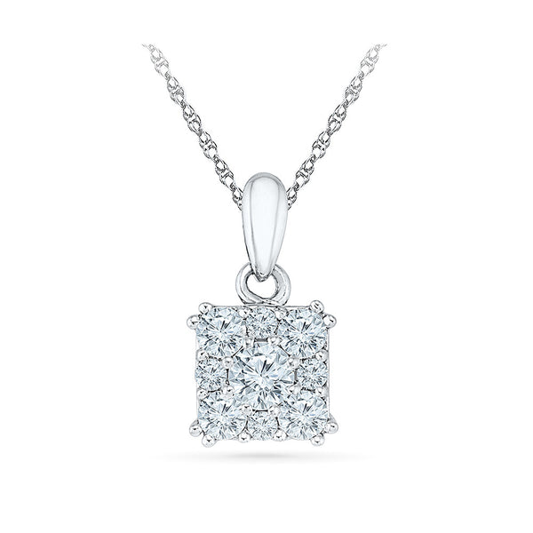 tiny square diamond studded pendant in 14k and 18k Gold online for women