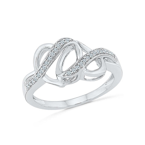 Silver Two Hearts Ring with Prong Set Diamonds