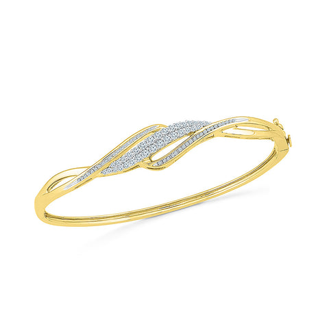 Buy gold fancy diamond bangle for bride