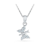 14k and 18k Gold Fine Butterfly Diamond Pendant in Prong setting online for women