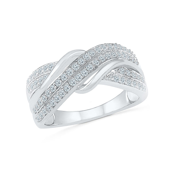 14kt /18kt white and yellow gold Enchanting Swirl Diamond Cocktail Ring in PRONG setting for women online