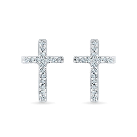 Classic Cross Diamond Stud Earrings in 14k and 18k gold for women online