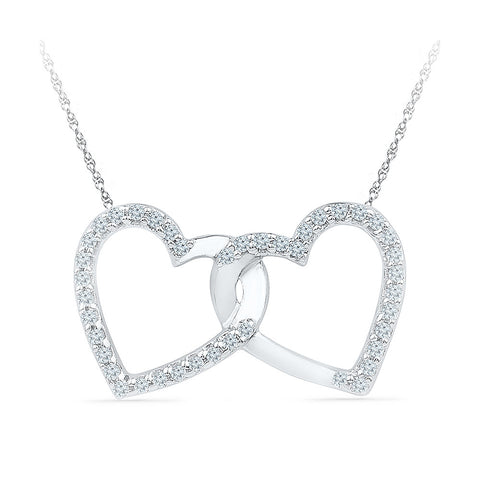 14k and 18k Gold Heart in Heart Diamond Pendant in PRONG setting online for women