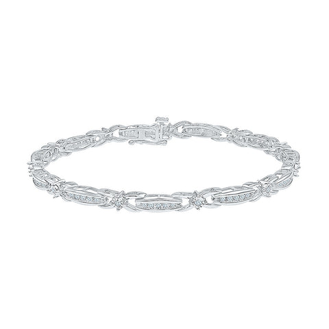 multi diamond studded bracelet for weddings  in white and yellow gold
