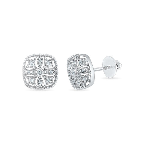 Splendid Square Diamond Stud Earrings in 92.5 Sterling Silver for women online