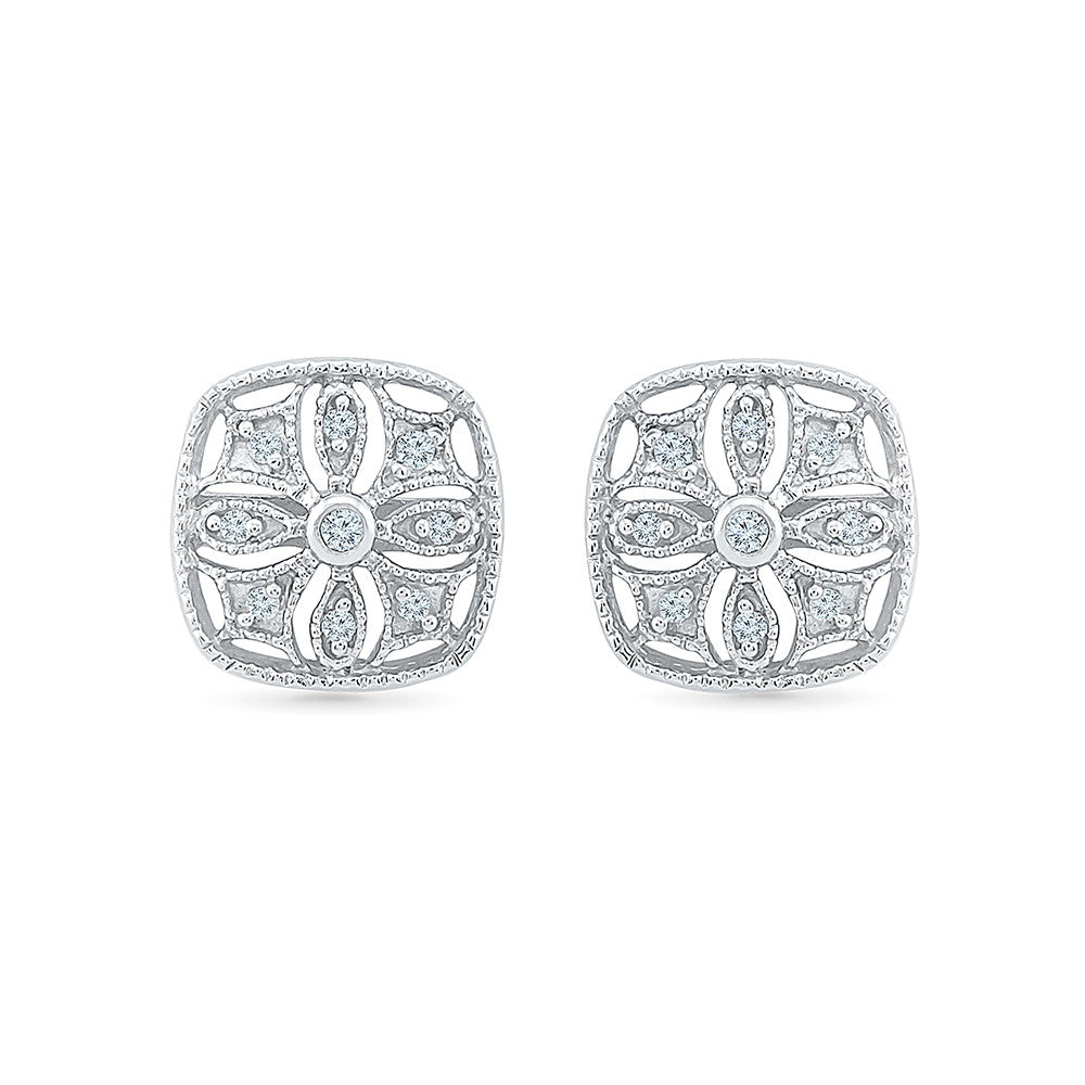 e93602a48 finely detailed diamond studs in gold – Radiant Bay