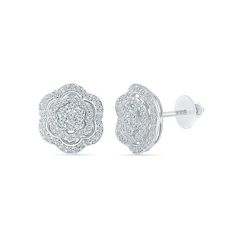 Flower Fancy Diamond Stud Earrings in 14k and 18k gold for women online