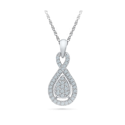 Diamond Accent Teardrop Pendant in 14k and 18k Gold online for women