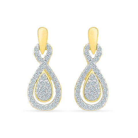 Voluminious Diamond Drop Earrings in 14k and 18k gold