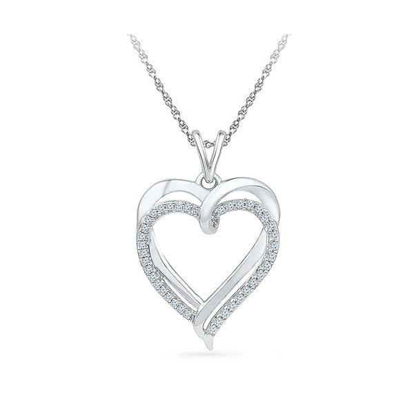 Ravishing Double Heart Diamond Pendant  in 14k and 18k Gold online for women