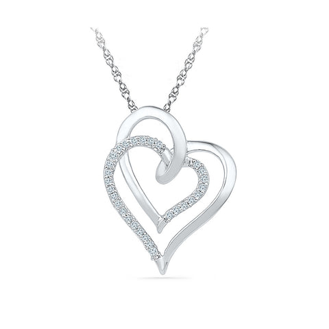 Perfect Twosome Diamond Heart Pendant  in 14k and 18k Gold online for women