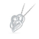 Enchanting Dual Heart Diamond Silver Pendant
