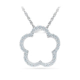 cute open flower diamond pendant in 14k and 18k Gold online for women