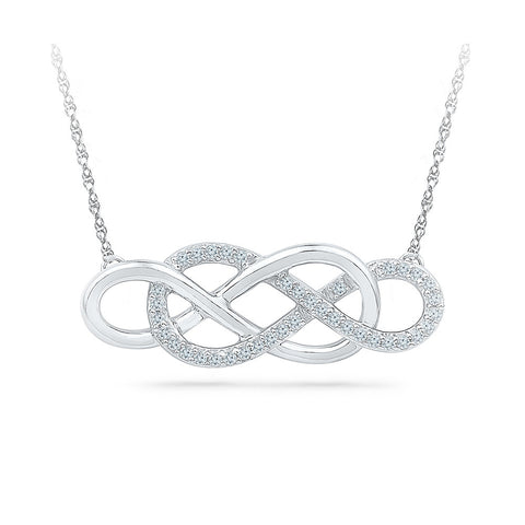 14k and 18k Gold Interlocking Infinity Diamond Pendant  in PRONG setting online for women