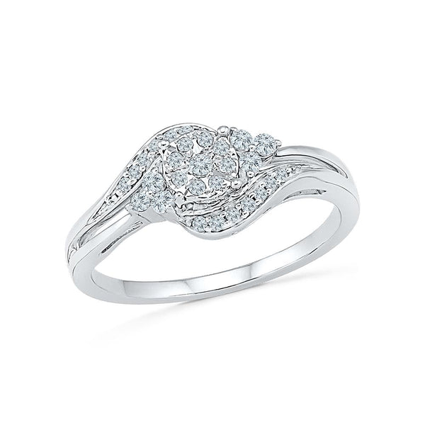 Silver Ring with Symmetrical Prong and Miracle Set Diamonds