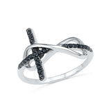 14kt / 18kt white and yellow gold The Inifnity Cross Diamond Ring in Prong setting online for women