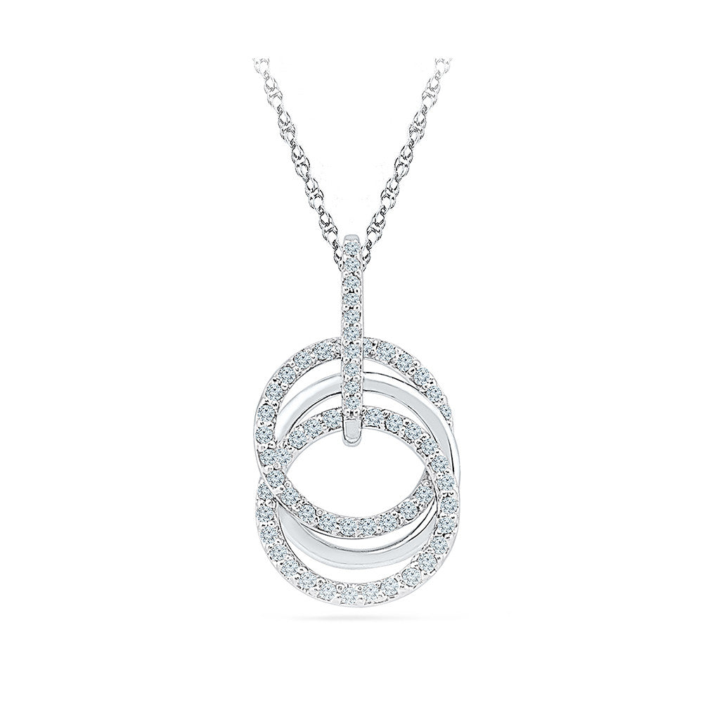 chain with three gold pendant stone main diamond white