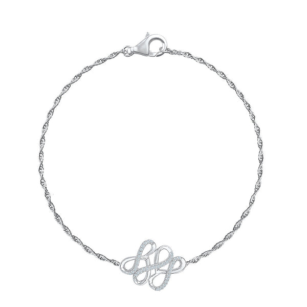 Inverted Infinity Heart Diamond Bracelet