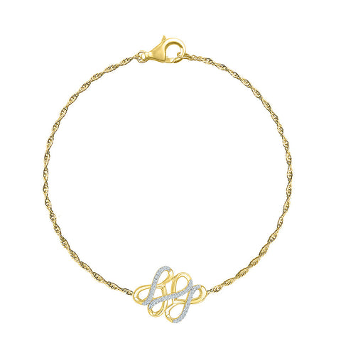 elegant chain diamond bracelet  in white and yellow gold