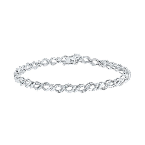 infinity diamond bracelet for special occasion  in white and yellow gold