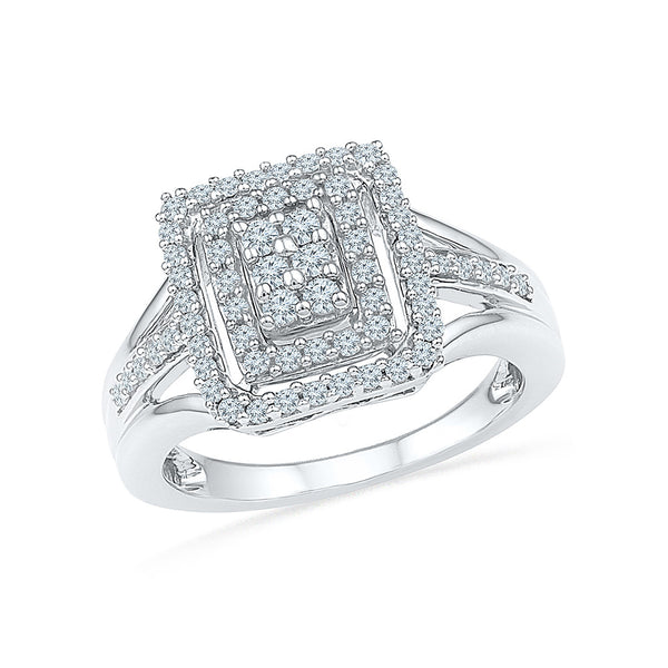 14kt / 18kt white and yellow gold Square Eminence Diamond Cocktail Ring in Prong and Pave setting online for women