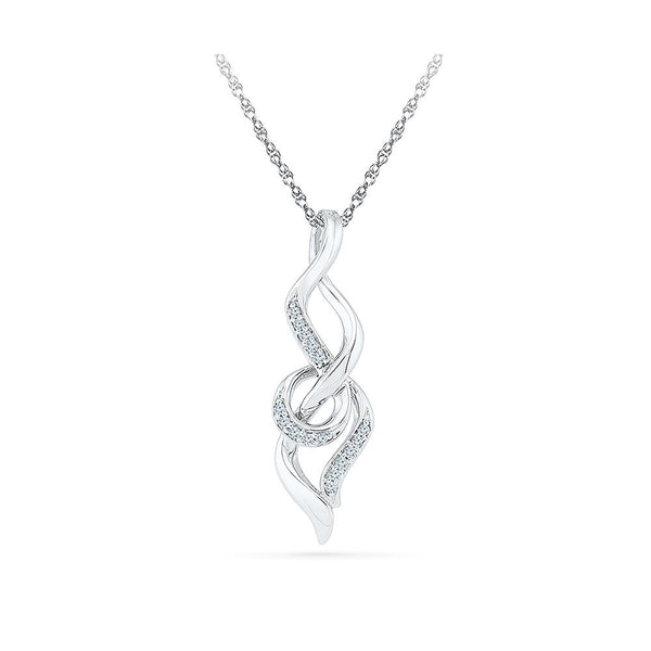 Silver Romantic Pendant with Prong Set Round Diamonds