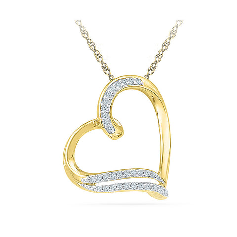 Dainty Heart Diamond Pendant in 14k and 18k Gold online for women