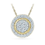 Round Diamond Circle Pendant in 14k and 18k Gold online for women