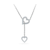 14k and 18k Gold Dual Heart Diamond Lariat in PRONG setting online for women
