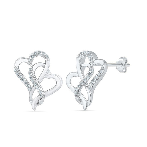 Dual Heart Diamond Stud Earrings in 92.5 Sterling Silver for women online