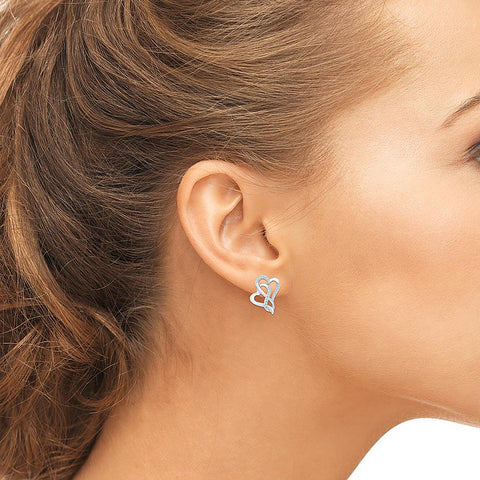 Dual Heart Diamond Stud Earrings