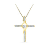 Coruscate Cross Diamond Pendant in 14k and 18k Gold online for women