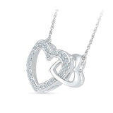 Petite Heart Holds Diamond Silver Necklace