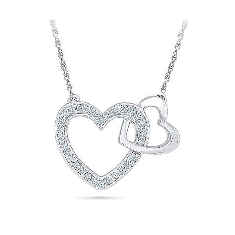 Silver Fancy Necklace Diamond pendant in Prong Setting