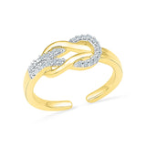 14kt /18kt white and yellow gold Knot Treat Diamond  Midi Ring in PRONG setting for women online