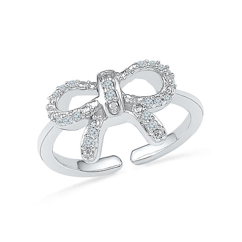 Bow Bestow Diamond Midi Silver Ring