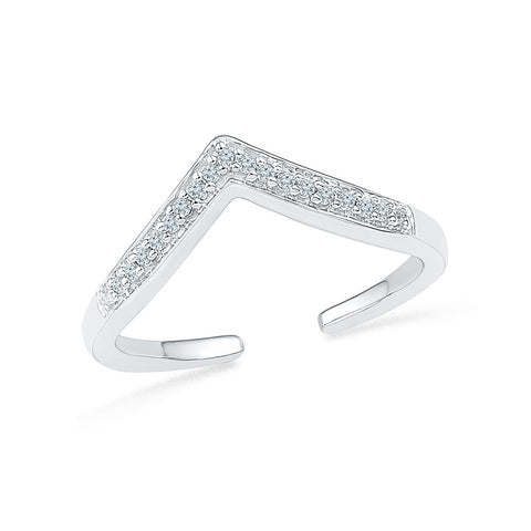 Open Chevron Diamond Midi Ring