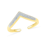 14kt /18kt white and yellow gold Open Chevron Diamond Midi Ring in PRONG setting for women online