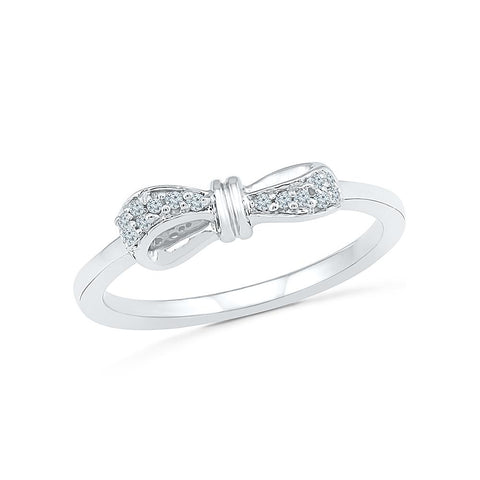Bow Tie Diamond Midi Silver Ring