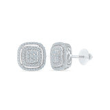 Square Accent Diamond Stud Earrings in 14k and 18k gold for women online