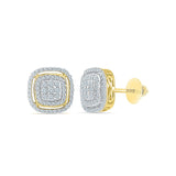 Square Accent Diamond Stud Earrings