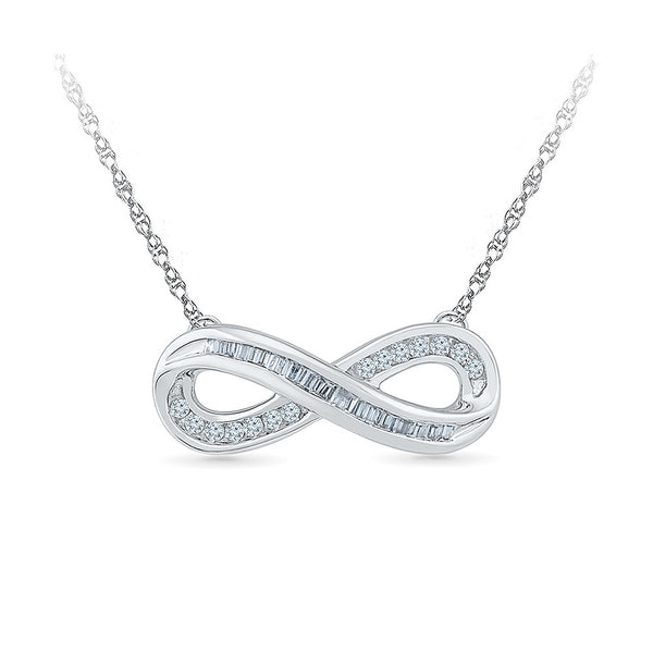 14k and 18k Gold Infinity Diamond Pendant With Chain in CHANNEL,NICK setting online for women