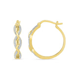 Three Link Diamond Hoop Earrings