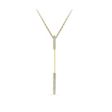 14k and 18k Gold Long Bar Chain Necklace Pendant in Prong setting online for women